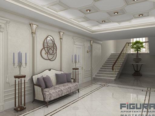 Холл 1 этаж галерея проекта 3d